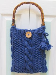 Colonial Bluehand knitted handbag /pursein a cable by UptownKnits, $49.95