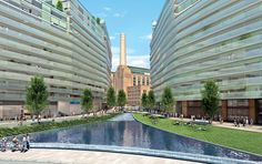 it has been announced that rafael vinoly's battersea development has been given approval by the commission for architecture and the built environment. Battersea Power Station, Built Environment, Master Plan, Multi Story Building, Architects, How To Plan, Mansions, House Styles, Travel