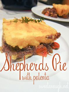 Shepherds Pie with Polenta. Hearty and warm, as well as quick easy! Dinner Bell, Polenta, Food And Drink, Pie, Warm, Meat, Recipes, Torte, Cake