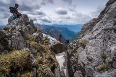 Some audacity is required for mountaineering in Slovenia. . Pelci traverse, the most beautiful ridge in the Julian Alps 😍 . We love sharing mountain journeys with you, what was your most beautiful ridge traverse in Europe? Julian Alps, Alpine Plants, Lake Bled, What Activities, Ice Climbing, Extreme Sports, Mountaineering, Slovenia, Rafting