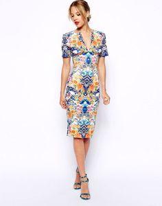 ASOS | Sexy Pencil Dress in Scuba with Mirror Floral Print