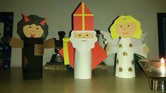 Mikulášská družina Mikuláš, čert a anděl z toaletních ruliček