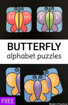 FREE printable butterfly alphabet puzzles for preschoolers and kindergarteners.  Practice uppercase and lowercase letter recognition with this busy bag learning activity!
