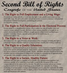 Second Bill of Rights for USA as recommended by http://www.workersstandforamerica.com
