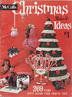 Found this 1961 issue of McCall's Christmas Ideas at one of my favorite non-profit thrifts, Bridgewood Farms in Conroe, TX.  Inside:  269 Items!  Martha Stewart, eat your heart out.  Love the fact that the red tones in the display fade into each other--of course, nothing says Christmas like lots of red!