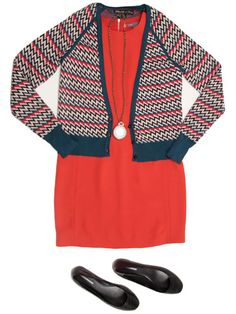 Red dress with cardigan