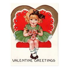 Vintage Girl in Heart Valentine Postcard - click/tap to personalize and buy