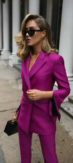 Fall/Winter Trend Memo Day 1: Power Dressing // Magenta double breasted blazer, magenta slim fit pants, leather box bag, gold front hoop earrings, multi-row choker, large black sunglasses {Petar Petrov, Mark Cross, DVF, trend memo, fashion week}