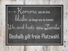 Freie Platzwahl - Hochzeitsplakat http://de.dawanda.com/product/76725267-Hochzeitsplakat-Freie-Platzwahl