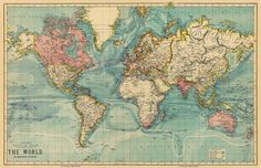 Vintage map of the world from 1883. - The World on Mercator's projection. Shows rivers, boundaries, currents, telegraph lines. British territory is pictured in red. Printed with a Canon imagePROGRAF 8300 printer, one of the best fine art printers, on Harman Lithorealistic matte paper (270 g) using inks (Lucia EX) with neutral PH (acid free) which is perfect for archival purposes. ~ $28 AncientShades (Etsy)