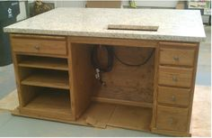 Sewing Tables from kitchen cabinets
