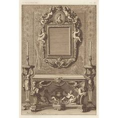 Design for French 17th Century Wall Mirror & Console Table