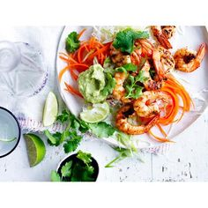Grilled prawns with avocado cream and slaw recipe   FOOD TO LOVE