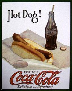 White Hot Dog Coca-Cola Tin Sign for sale online Coca Cola Poster, Coca Cola Drink, Cola Drinks, Coca Cola Ad, Always Coca Cola, Coca Cola Bottles, Pepsi, Hot Sauce Bottles, Vintage Coca Cola