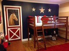Cool Western Theme Boys Bedroom with Horse Wall Murals in the Door