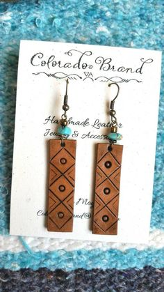 Items similar to Hand made leather earrings, gypsy boho earrings, cowgirl earrings on Etsy Leather Earrings, Boho Earrings, Leather Jewelry, Leather Craft, Handmade Leather, Stud Earrings, Custom Leather, Jewelry Crafts, Handmade Jewelry