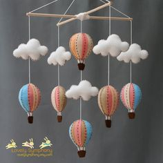 Vintage peach and blue baby mobile  peach and por LovelySymphony, $70.00