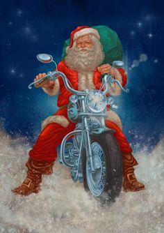 Santa ridin a cloud on a Harley