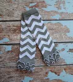 Baby Girl GREY chevron leg warmers with ruffles Baby girl leg warmers Gray ruffle leggings Baby shower gift  Fits 3 months to 4 years)