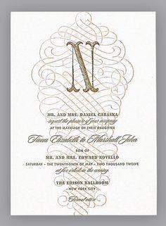 Elegant Monogrammed Wedding Invitation. Ballroom                                                                                                                                                                                                                                                                                                                                                                                                                        Bon-Bon invitation, $882*, Umi by Elum…