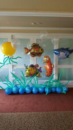 Under the Sea balloons - Salvabrani Underwater Birthday, Underwater Party, Under The Sea Decorations, Balloon Decorations, 4th Birthday Parties, Birthday Party Decorations, Ocean Party Decorations, Baby Shark, Shark Party