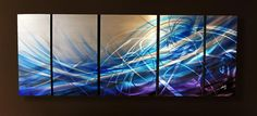 Abstract metal wall art painting blue wave scene modern contemporary decor sculpture by Robert Hawk. $199.00, via Etsy.