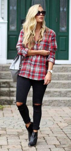 #preppy #fashion /  Tartan Plaid Shirt // Destroyed Skinny Jeans // Black Booties