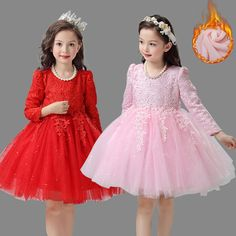 26.53$  Watch now - http://alitfv.shopchina.info/go.php?t=32778629521 - Christmas Girls Dresses Long Sleeve Flower Girl Dresses For Wedding Party Tutu Princess Dress Girl Age 3-12 Years Girls Clothes  #buyonline