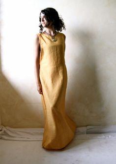 Golden yellow linen tunic dress  modern medieval long by LoreTree, €120.00