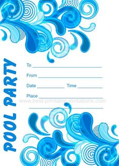 free printable pool party invitation template from, Party invitations