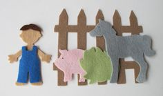 Wool Felt Die Cut Set  Boy  Horse  Pig  Fence  by FeltOnTheFly, $8.00