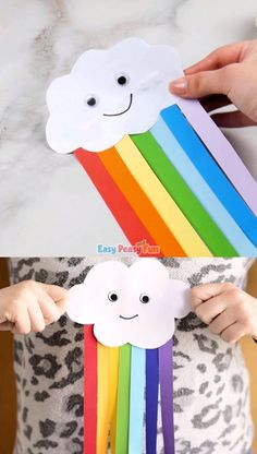 Cute paper rainbow kids crafts-Niedliches Papierregenbogen-Kinderhandwerk Cute paper rainbow kids craft - Diy and crafts interests Spring Crafts For Kids, Paper Crafts For Kids, Easy Crafts For Kids, Summer Crafts, Easter Crafts, Diy For Kids, Craft Kids, Craft With Paper, Creative Ideas For Kids