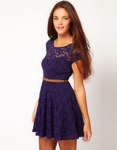 Lace Skater Dress by River Island