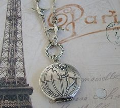 Classic+Silver+World+Locket+Necklace+Global+by+BackstreetCreations,+$29.00