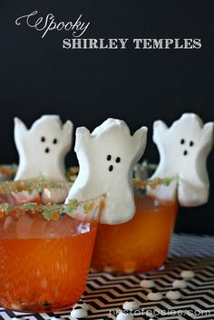 Spooky Shirley Temples - how cute are these?  My kids would love these.