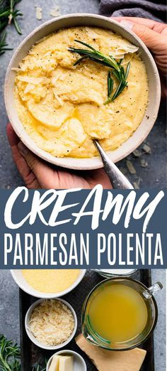This Creamy Polenta recipe makes a delicious side dish. Irresistibly yummy with parmesan cheese, but simple to make with just 5-ingredients: polenta, parmesan, milk, chicken broth and butter. Yum! // recipes easy // with cheese // easy // how to make Veggie Dishes, Pasta Dishes, Food Dishes, Side Dishes, Vegetarian Recipes, Cooking Recipes, Healthy Recipes, Italian Dishes, Italian Recipes