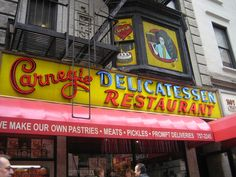 Carnegie Deli, New York!  I was forced to eat here!  Pickles were served like tortilla chips.....   I guess we also saw Tommy Lasorta?  wthefknows.