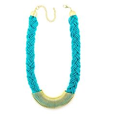 Tazza Gold-Tone Metal Braided Turquoise Seed Bead Fashion Bib Adjustable Lobster Closure Statement Necklace