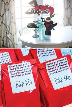 alice in wonderland silhouette photo booth props and 'take me' party favors