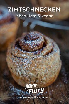 Zimtschnecken ohne Hefe - vegan backen - Mrs Flury Cinnamon rolls without yeast - super tasty, ready Healthy Baking, Healthy Snacks, Cinnamon Rolls Without Yeast, Nutella, Snacks Sains, Clean Eating Snacks, Vegan Recipes, Easy Meals, Dessert Recipes