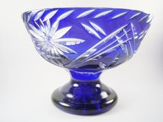 Vintage BOHEMIAN CZECH Cobalt Blue Cut to Clear Glass Pedestal Bowl/Compote. This bowl stands 6 tall and measures 81/2 across its opening.