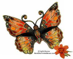 Trinket Box: Orange Butterfly Box