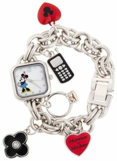 """Disney Women's MN2011 Minnie Mouse Mother-of-Pearl Dial Charm Watch Disney. $22.99. Five charms hanging: black enamel cellphone; Red heart with Mickey icon; Rhinestone ring; Flower; Red heart with words """"Minnie + Mickey"""". Durable mineral crystal. Jewelry clasp. Quality Quartz movement with analogue-display. Square case with minnie mouse image on dial"""