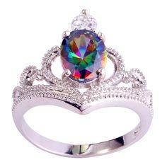 Barato Moda festa jóias charme mulheres Multi Color íris Sapphire 925 anel de prata tamanho 6 7 8 9 10 grátis frete por atacado, Compro Qualidade Anéis diretamente de fornecedores da China:                                        Produtos de venda quente
