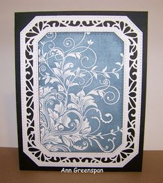 The white frame is the Sue Wilson Ornate Pierced Rectangles .  I stamped the card with the Hero Arts Leafy Vines cling stamp then heat ...