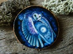 Giver of Light - Owl brooch OR pendant - hand painted on wood by Amaya de la Hoz