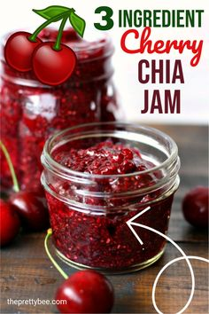 Cherry season is here, so it's the perfect time to make a batch of this cherry chia jam! Just 3 ingredients needed to make this delicious jam. Spread it on toast or muffins and enjoy! Free Breakfast, Breakfast Recipes, Dessert Recipes, Vegan Desserts, Delicious Desserts, Cherry Season, Jam On, Egg Free, 3 Ingredients