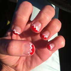 shark bite manicure/nails for shark week.