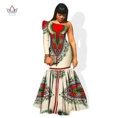 Long Party Dresses - BRW Autumn African Clothes for Women Dashiki Vestidos African Bazin Riche Dress for Women Cotton Print Mermaid Long Dress - Winter is here, and with it the latest fashion trends African Dresses For Women, African Print Dresses, African Attire, African Wear, African Fashion Dresses, African Clothes, African Style, African Dashiki, African Beauty