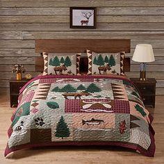 Queen Quilt Set Comforter Rustic Home Moose Bear Log Cabin Lodge Cotton Shams Moose Quilt, Moose Lodge, Quilt Sets Queen, Lodge Style, Up House, Quilted Bedspreads, Quilt Bedding, Twin Quilt, Bedroom Decor